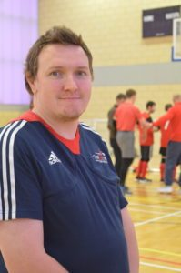 Photo of Michael Payne officiating at a Goalball UK tournament