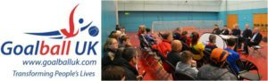 Goalball UK logo with picture of board meeting to the side