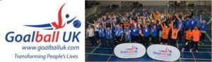 Goalball UK logo with massive group picture of goalball players to the side