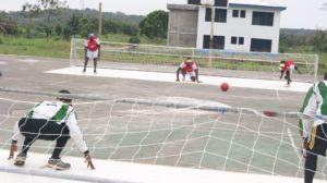 Goalball game taking place in Ghana during Chris Davies trip to the country