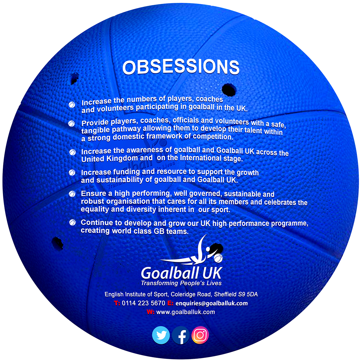 List of Goalball UK obsessions, with Goalball UK logo and contact details