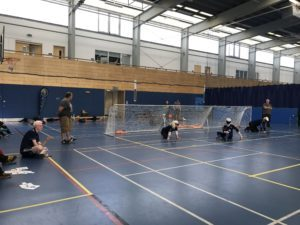 Winchester Goalball Club playing at a tournament in Bristol