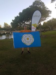 Kathryn Fielding sporting a Yorkshire flag at Surfers Paradise parkrun, Queensland, Australia