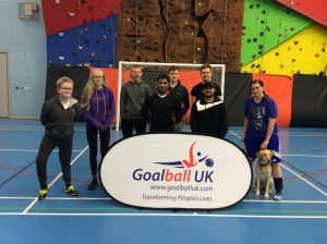 Group photo of players at a Blackburn Goalball Club training session