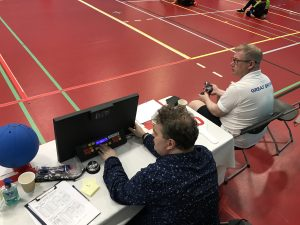 Dyfrigg and Mark table officiating at Goalball UK tournament