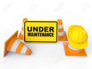 Under maintenance logo with cones