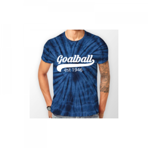 Shop photo of Goalball t-shirt, in blue with a pattern