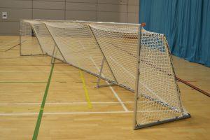 A goalball goal in a sportshall