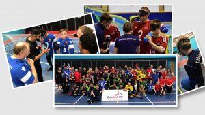 Collage of various photos showcasing Goalball UK