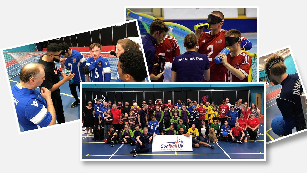 Collage of various photos showcasing Goalball UK