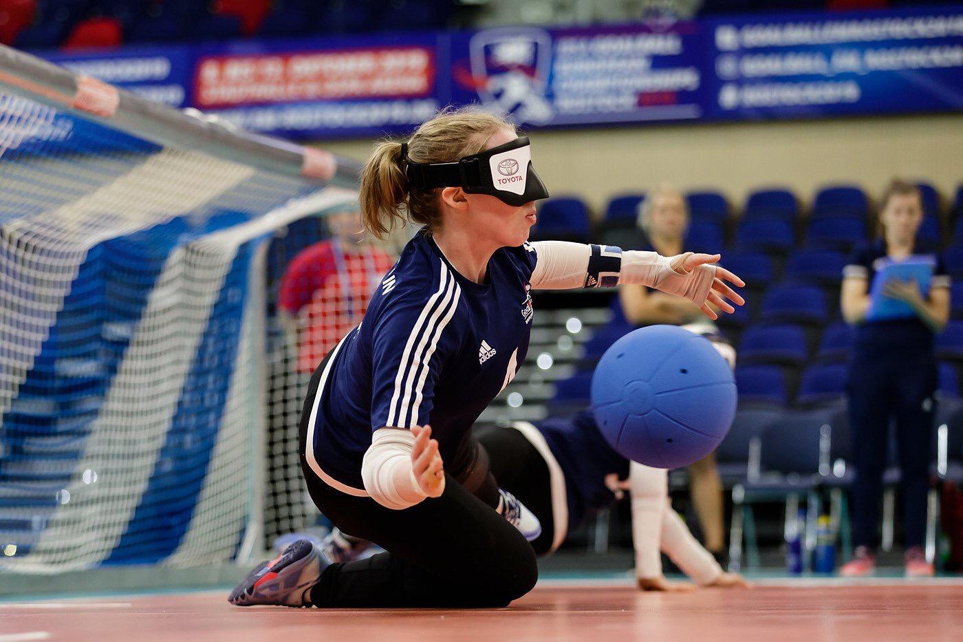 Female player saving the ball