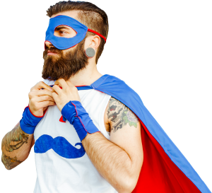 2.6 Challenge poster showing a man in a super hero outfit.
