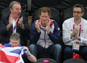 Mike Reilly with Price Harry in the crowd at London 2012