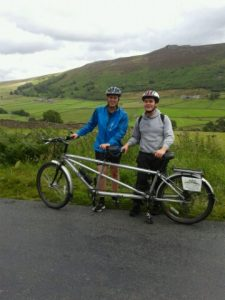 Kelsey and Kathryn in the Yorkshire Dales with their tandem bike