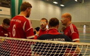 The GB squad, including Phil, on court during a time out