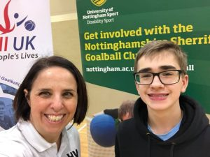Picture of Hannah, and Nottinghamshire player Harry, taken at the 2020 Derbyshire and Nottinghamshire schools competition.