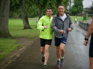 Anthony with his guide runner, at Hillsborough Park