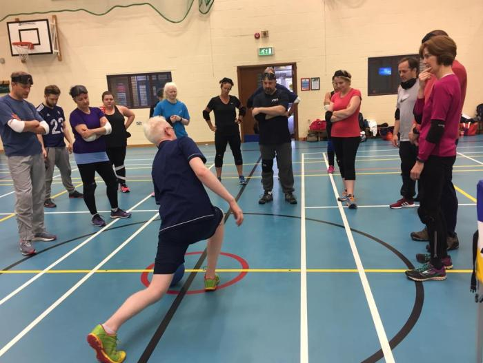 Winchester coach Adam Knott demonstrating a lunge at the Family and Friends Experience Day