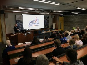 Image shows Goalball UK CEO Mark Winder presenting at the 2019 goalball conference