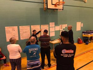 Image shows Faye Dale teaching at the 2019 goalball conference