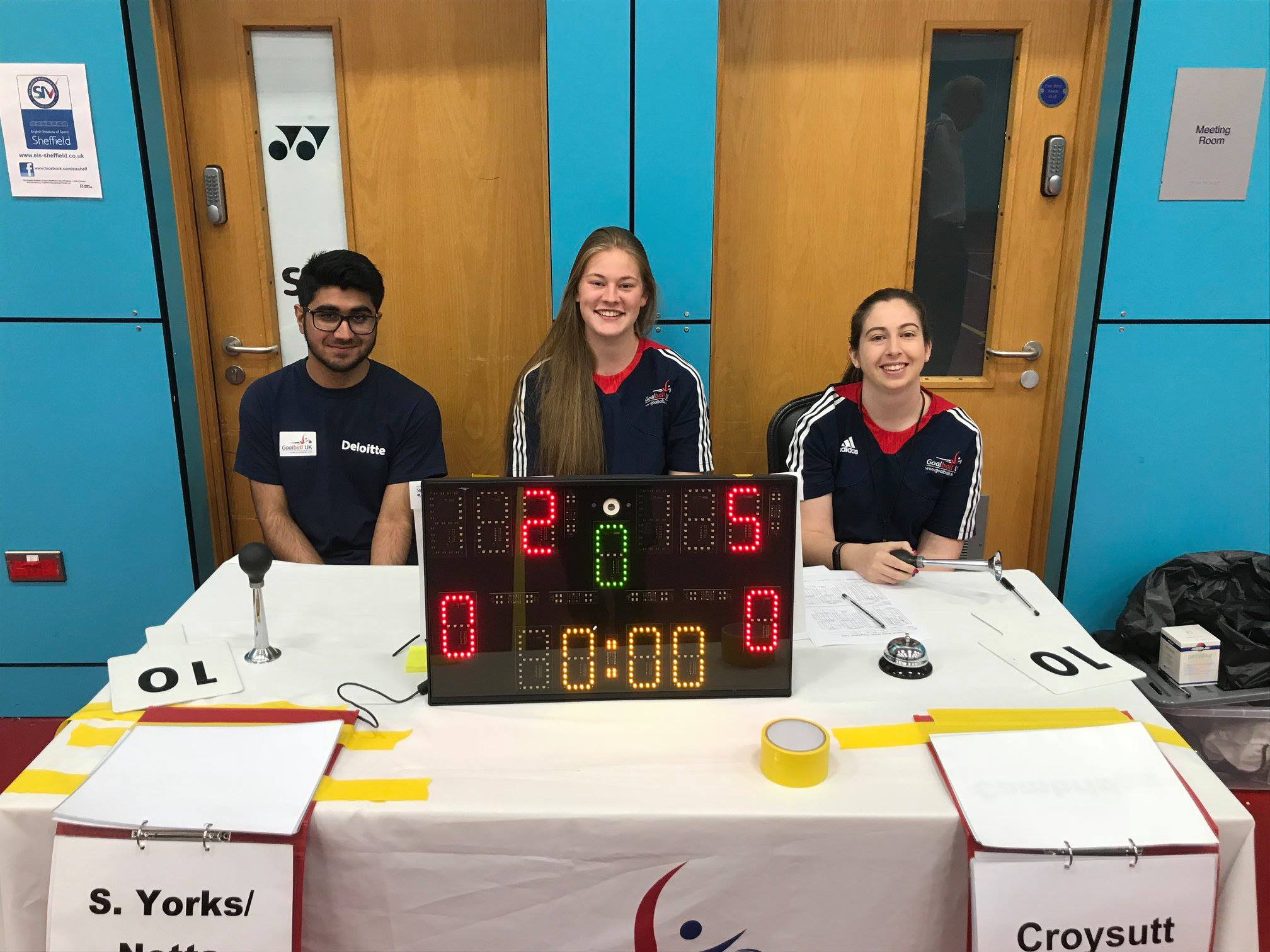 Fiona, in the centre, table officiating at a Goalball UK tournament in Sheffield