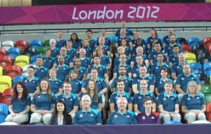 Image shows the goalball referees present at the London 2012 Olympics