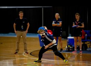 Kali about to take a shot on the goalball court