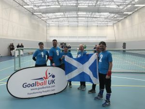 Paul with his Glasgow goalball teammates representing Scotland at the home nations tournament