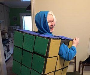 Karina Lang posing in a jazzy Rubik's cube!