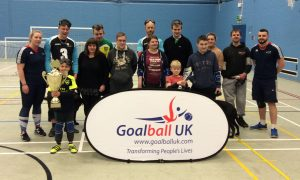 Norwich Goalball Club session. Part of the GB Trophy Tour.