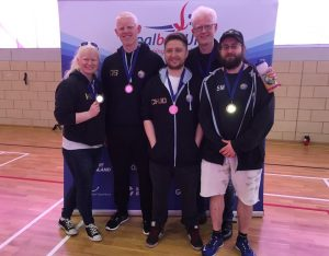 Winchester Goalball Club team photo post tournament. Adam Knott is second in from the right.