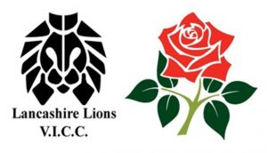Lancashire Lions Visually Impaired Sports Club logo. Their logo is on the left meanwhile there is an English red rose