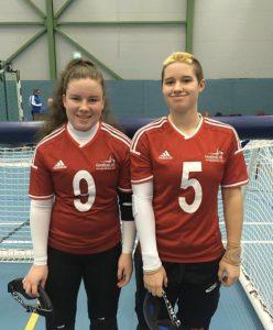 Megan Smithson Booth and Meme Robertson in GB kit at a Pajulhati Games.