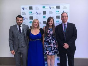 RNIB Vision Pioneer Awards Goalball UK representatives. Left to right, Dan Roper, Laura Perry, Becky Ashworth and Mike Reilly.