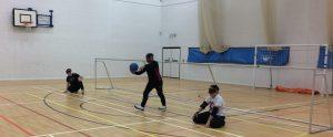 Mohammed Said shooting at a Blackburn Goalball Club session.