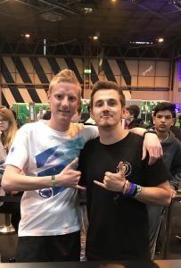 Stephen Newey stood in a photo with SYNDICATE, a famous gamer at the Insomia Gaming Festival.