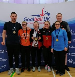Aaron Ford team photo with RNC team at a Goalball UK tournament.