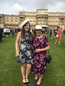 Dina Murdie and GB Women's Assistant Coach Becky Ashworth getting a picture together at the Buckingham Garden Party.