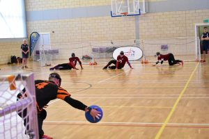 Dom Roper throwing a goalball against Northern Allstars in an Elite National League Tournament.