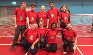Merseyside Sharks goalball team photo. Connie O'Brien is pictured top right meanwhile her mother and club coach Kerry is pictured in the bottom row in the middle.