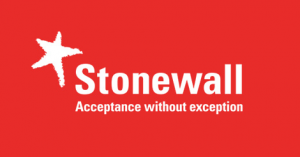 Stonewall logo which features a bright red background with Stonewall, acceptance without exception in white writing in the middle.