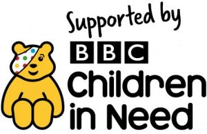 Children in need logo with the writing