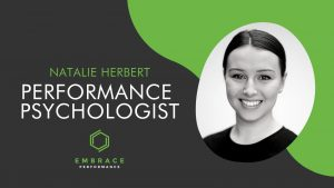 Natalie Herbert - Embrace Performance promotional image featuring a headshot and her organisations logo.