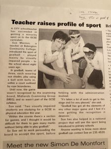 Another newspaper extract about Sue Manton's contribution to supporting the growth of goalball in Leicester.