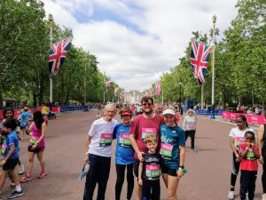 Sue Manton and her family doing the Westminster mile.