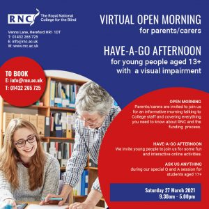 A poster advertising the Virtual Open Morning and Have-A-Go Afternoon on Saturday 27th March