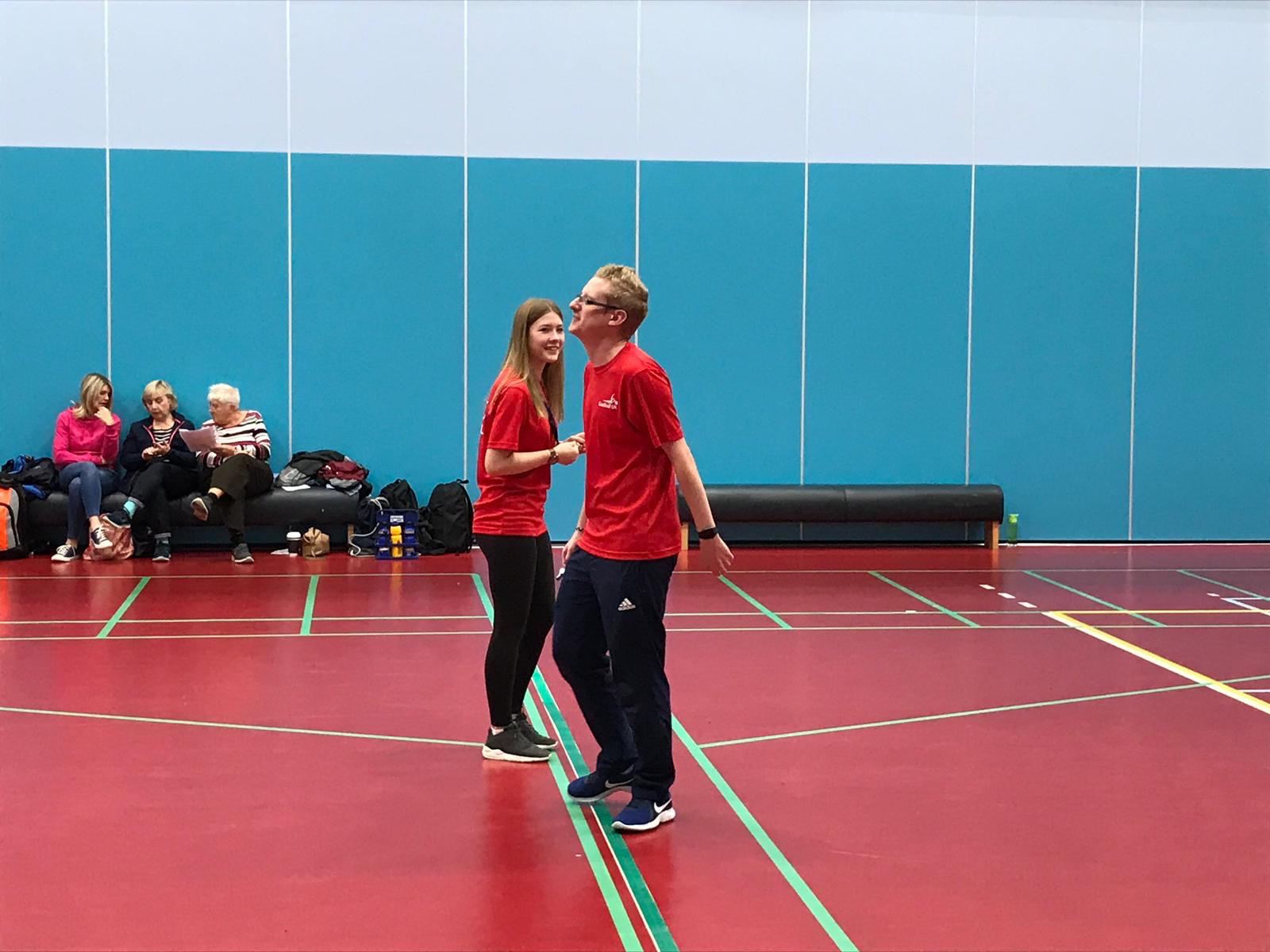 Stephen Newey and Imogen Winder officiating a goalball game.