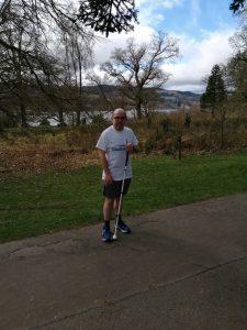 Graeme stood in the park wearing a Goalball UK t-shirt