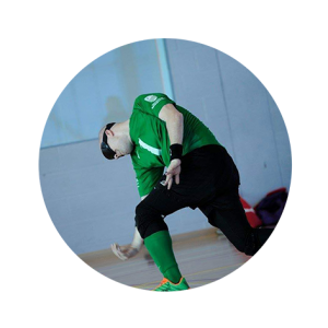 Phil Green throwing a goalball