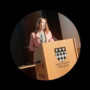 Sarah Stephenson-Hunter delivering a speech at a podium